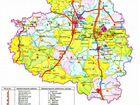 Административная карта Тульской области с автомагистралями и городами.