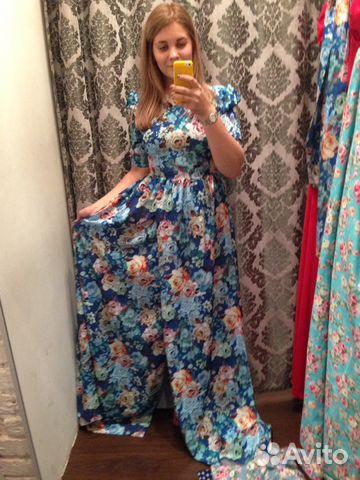 e104a0f97b0d Синее платье в пол с цветами