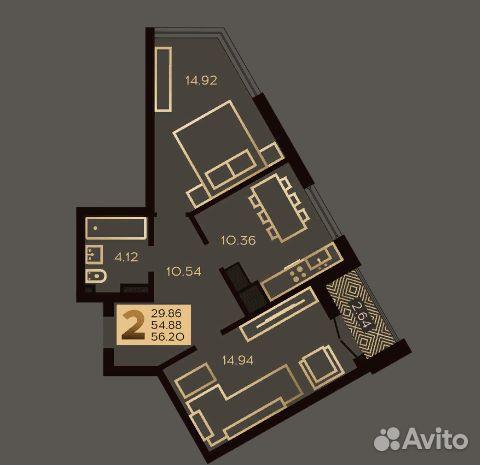 2-к квартира, 54.9 м², 4/10 эт. купить 3