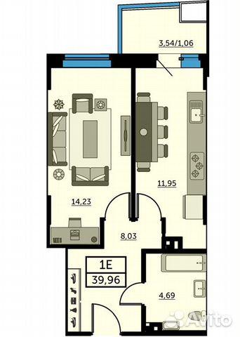 1-к квартира, 39.5 м², 24/25 эт. купить 1