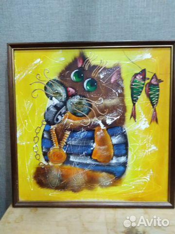 Картина Кот Боцман холст масло  89185593731 купить 1