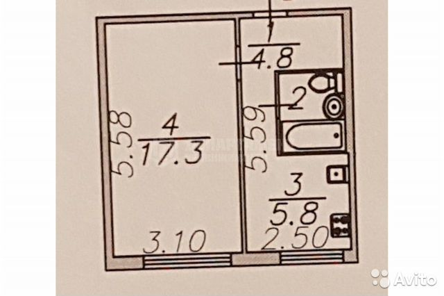 1-к квартира, 31 м², 1/5 эт.  89648887123 купить 9