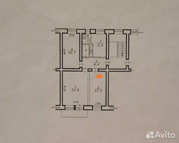Комната 11 м² в 3-к, 2/2 эт.
