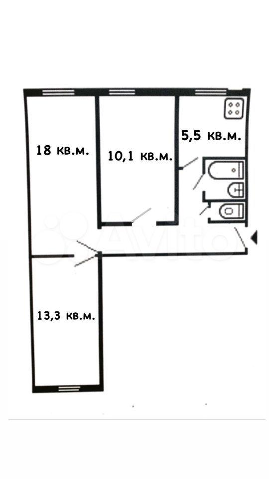 3-к квартира, 57 м², 1/2 эт.