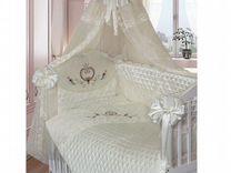 Кроватка детская в комплекте с матрасом и балдахин